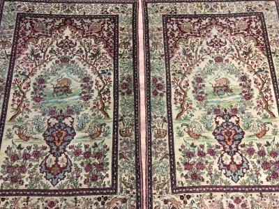Antique Persian Isfahan pair 2.05m x 1.40m each