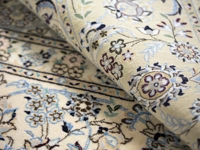 Fine Persian Nain rug close up